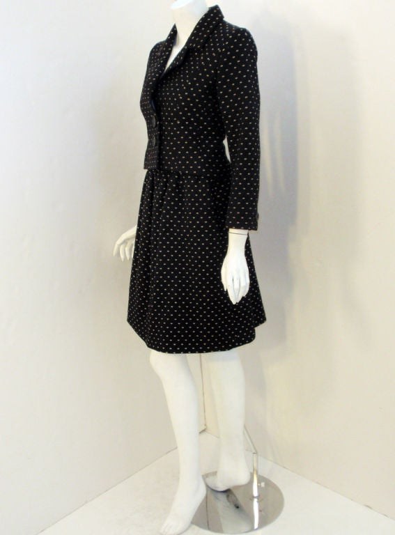 Norman Norell Couture 2 pc. Black w/ Cream Embroidered Circles Belted Skirt Suit 3