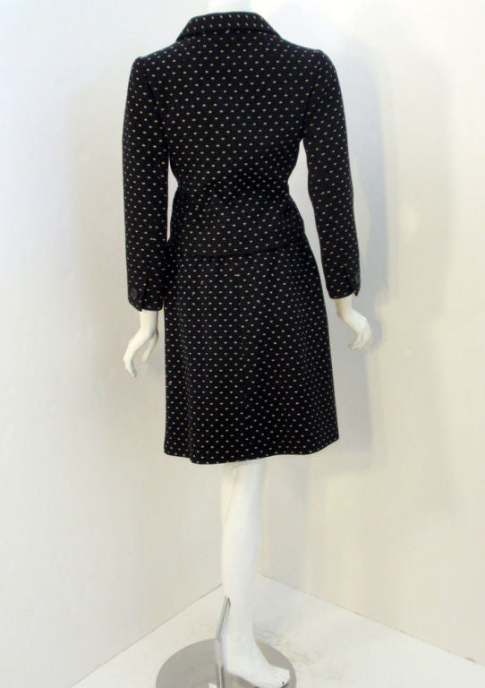 Norman Norell Couture 2 pc. Black w/ Cream Embroidered Circles Belted Skirt Suit 4