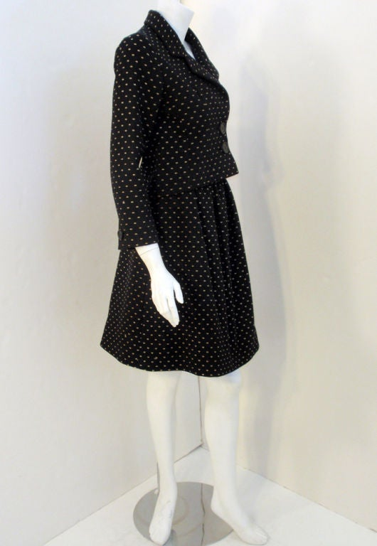 Norman Norell Couture 2 pc. Black w/ Cream Embroidered Circles Belted Skirt Suit 5