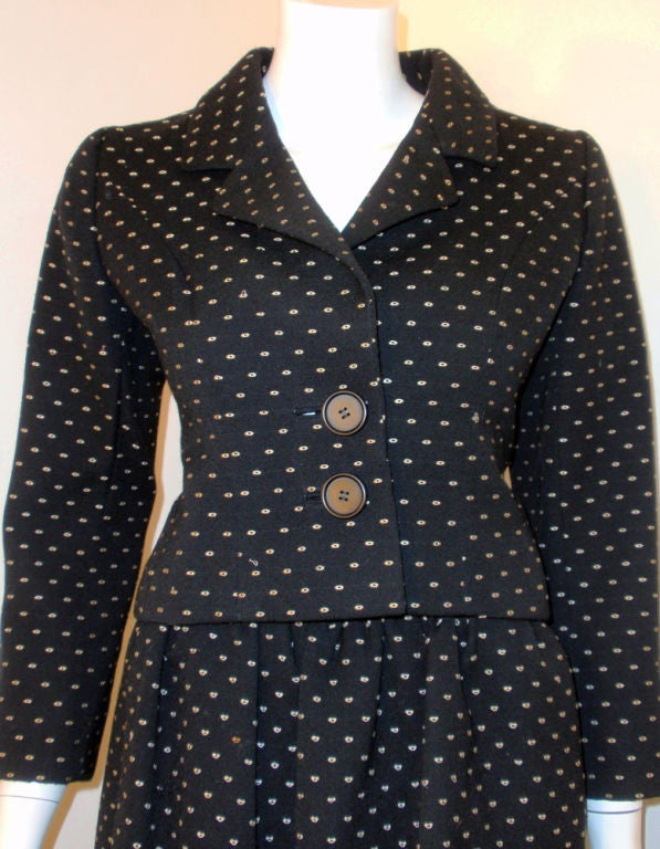 Norman Norell Couture 2 pc. Black w/ Cream Embroidered Circles Belted Skirt Suit 6