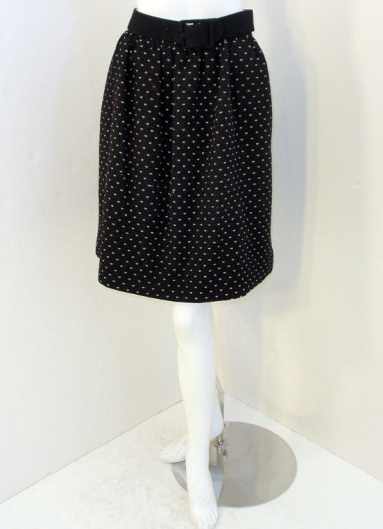 Norman Norell Couture 2 pc. Black w/ Cream Embroidered Circles Belted Skirt Suit 9