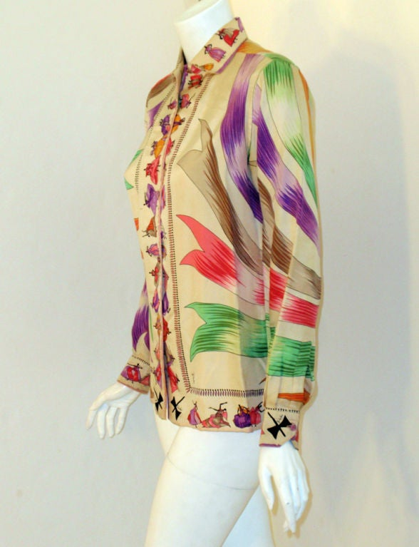 Emilio Pucci Rare off white silk blouse with ladies and ribbon print, 1960s 3