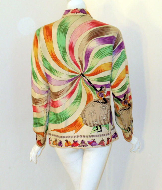 Emilio Pucci Rare off white silk blouse with ladies and ribbon print, 1960s 4