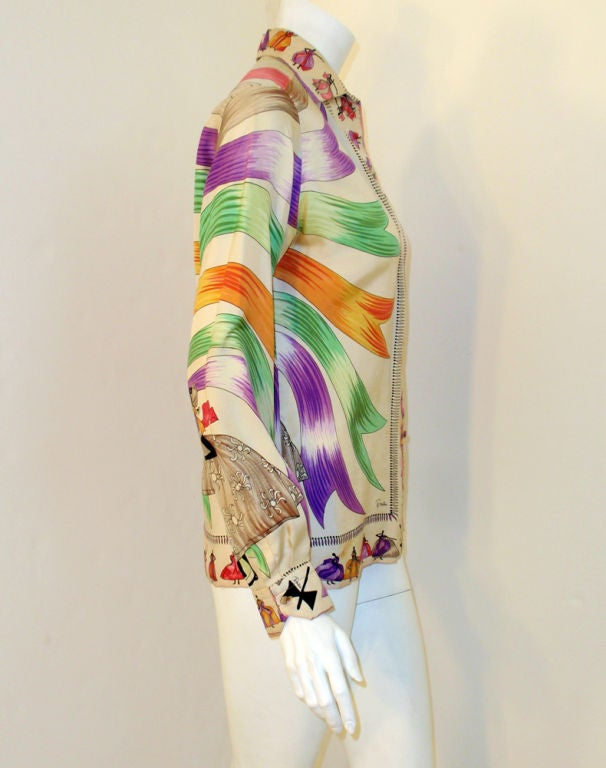 Emilio Pucci Rare off white silk blouse with ladies and ribbon print, 1960s 5