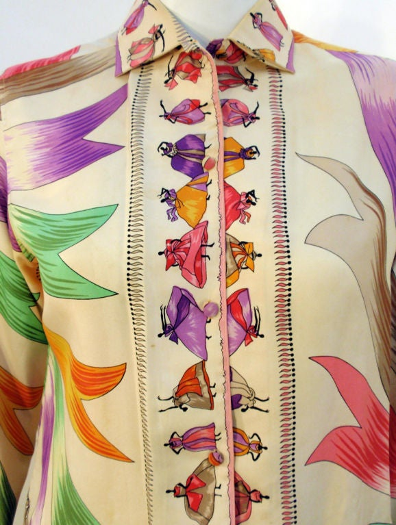 Emilio Pucci Rare off white silk blouse with ladies and ribbon print, 1960s For Sale 1