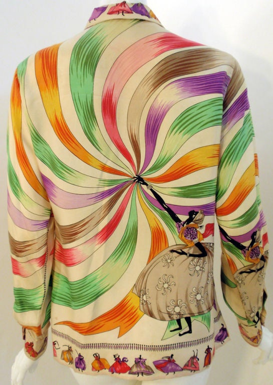 Emilio Pucci Rare off white silk blouse with ladies and ribbon print, 1960s 7