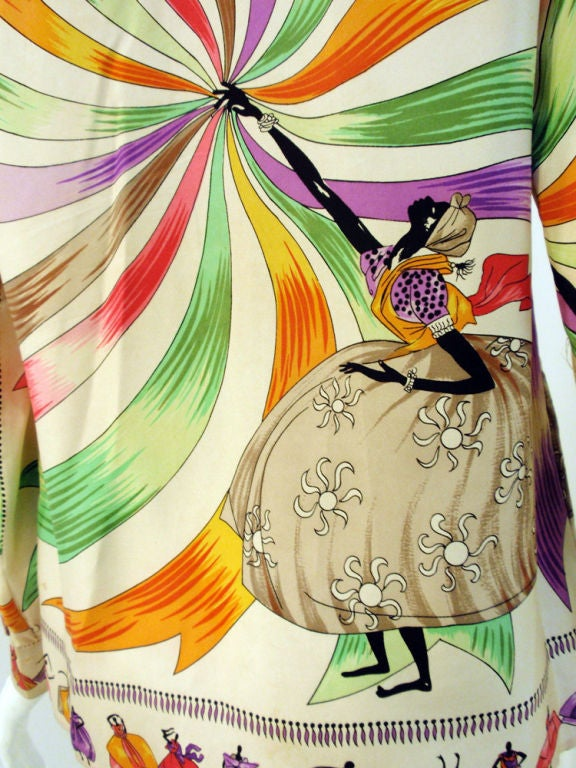 Emilio Pucci Rare off white silk blouse with ladies and ribbon print, 1960s 9