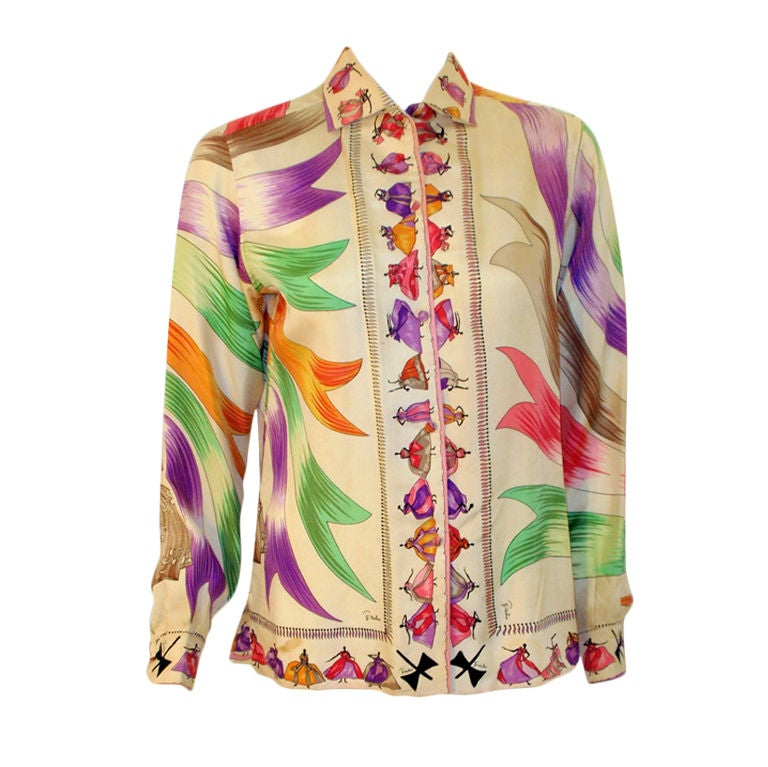 Emilio Pucci Rare off white silk blouse with ladies and ribbon print, 1960s 1