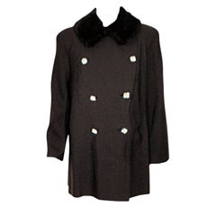 Traina-Norell Black Faille Coat with Rhinestone Buttons & Sheared Beaver Collar