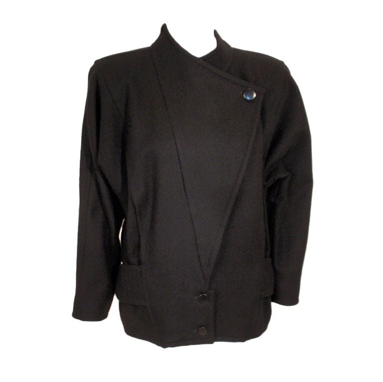 Courreges Black Wool Car Coat w/ Triangle Over-Flap & Back Belt