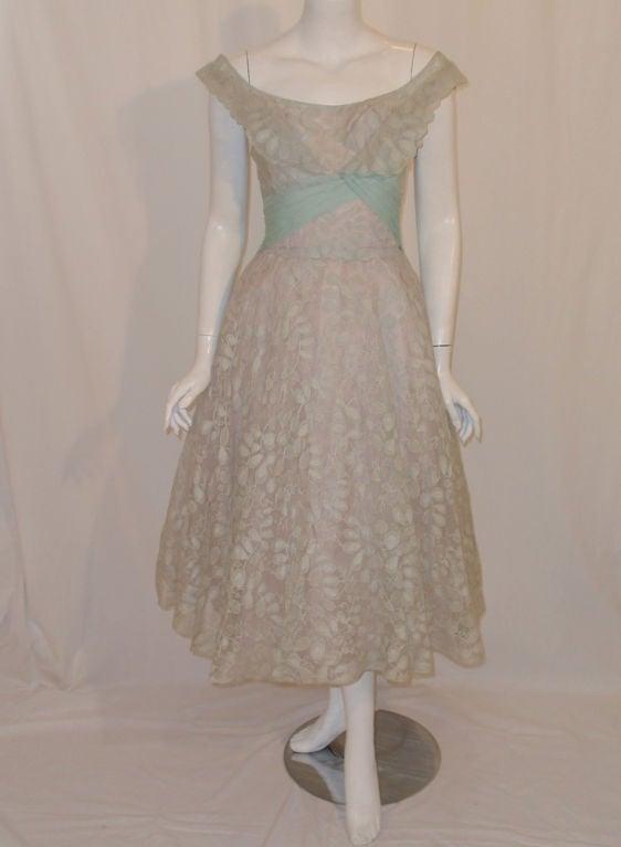 Ceil Chapman Vintage Light Blue Lace, Chiffon Cocktail Dress 2