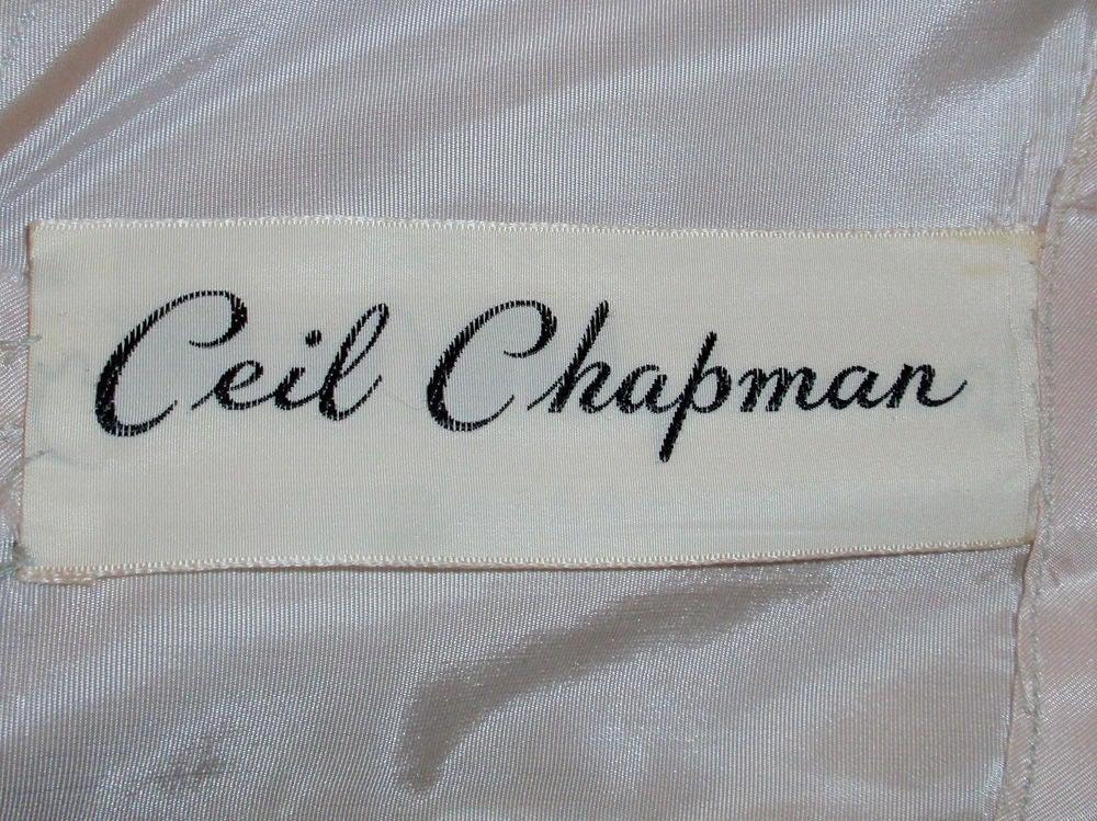Ceil Chapman Vintage Light Blue Lace, Chiffon Cocktail Dress 3