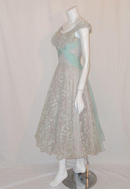 Ceil Chapman Vintage Light Blue Lace, Chiffon Cocktail Dress 4
