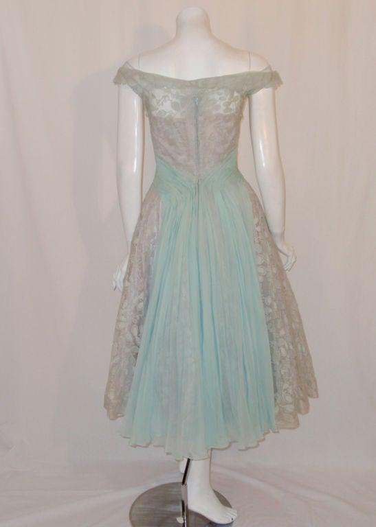 Ceil Chapman Vintage Light Blue Lace, Chiffon Cocktail Dress 5