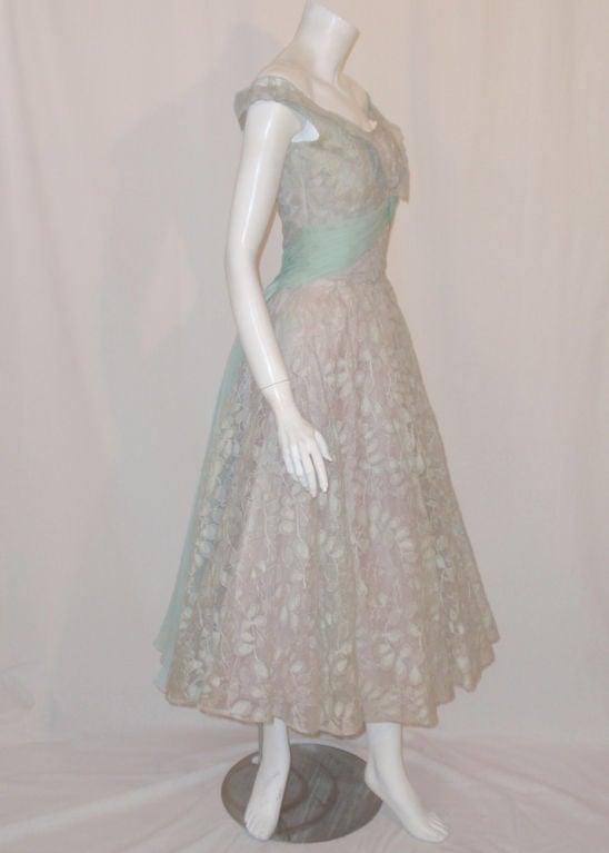 Ceil Chapman Vintage Light Blue Lace, Chiffon Cocktail Dress 6