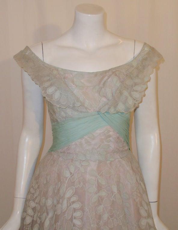 Ceil Chapman Vintage Light Blue Lace, Chiffon Cocktail Dress 7