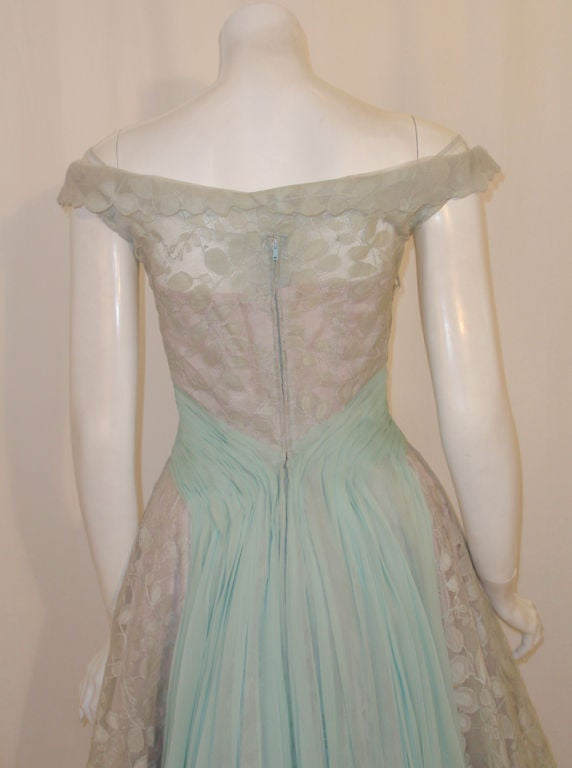 Ceil Chapman Vintage Light Blue Lace, Chiffon Cocktail Dress 8