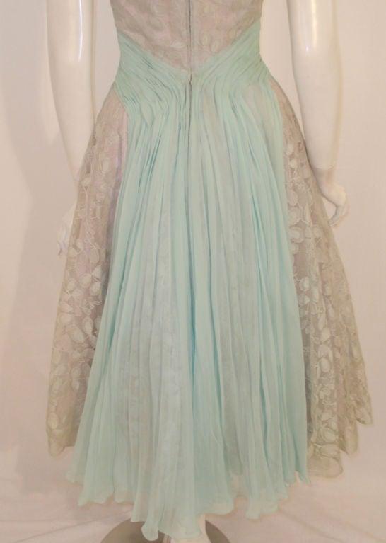 Ceil Chapman Vintage Light Blue Lace, Chiffon Cocktail Dress 9