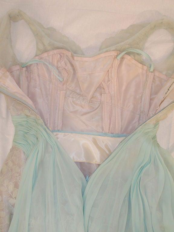 Ceil Chapman Vintage Light Blue Lace, Chiffon Cocktail Dress 10