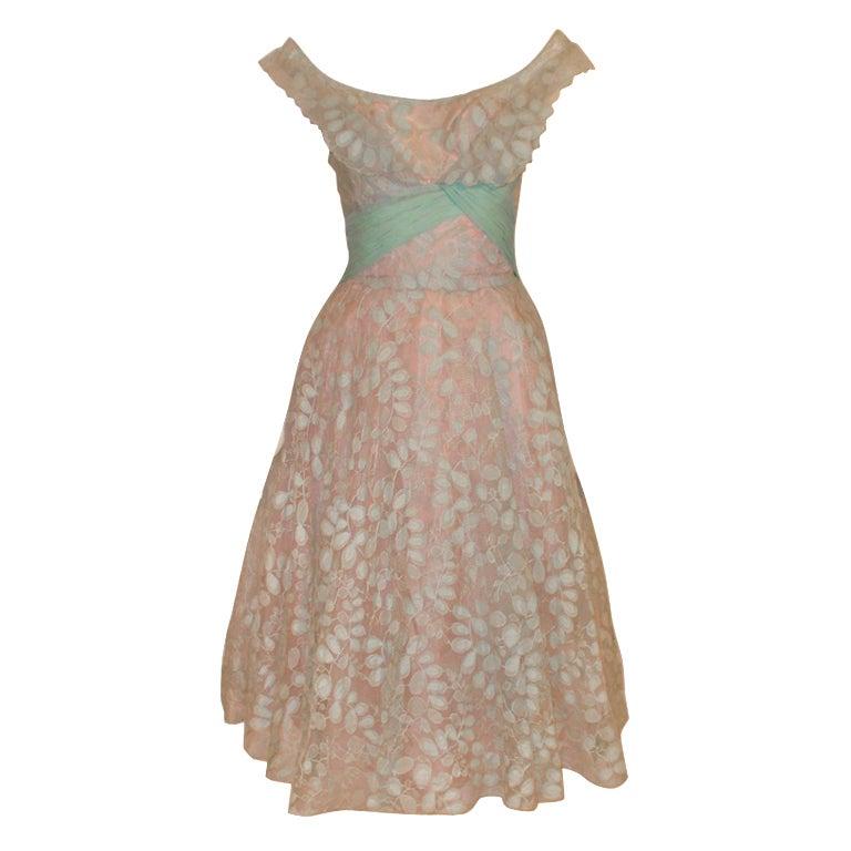 Ceil Chapman Vintage Light Blue Lace, Chiffon Cocktail Dress 1