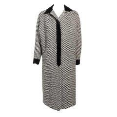 Don Loper Vintage Black & White Check Overcoat w/ Velvet Trim