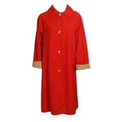 Bonnie Cashin Red and Tan Raincoat w/ Gold Closures Vintage 16