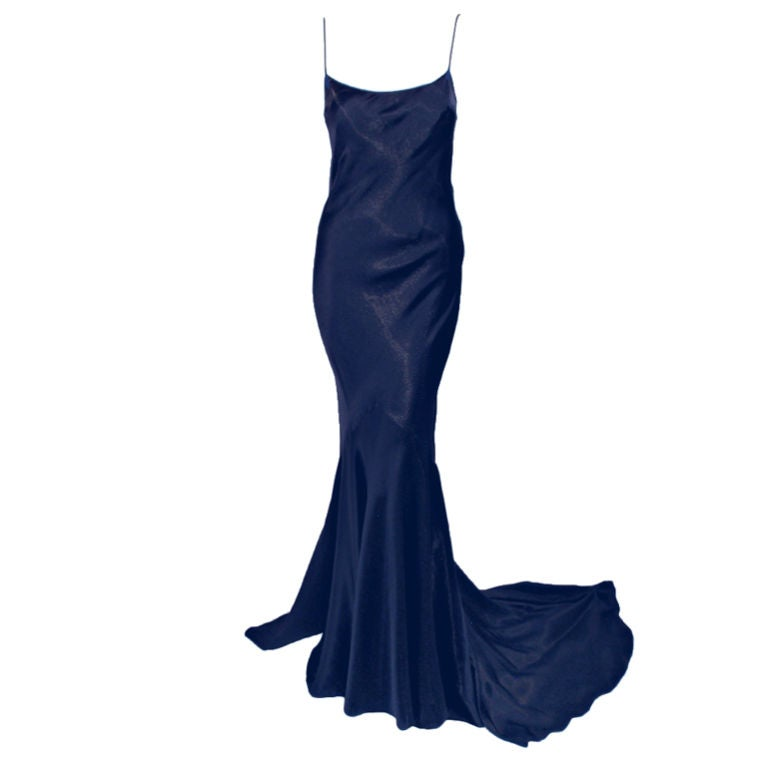 John galliano navy blue gold satin bias cut gown w train for Costume jewelry for evening gowns