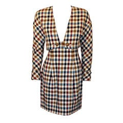 Christian Lacroix 2 piece Houndstooth Wool Skirt Suit