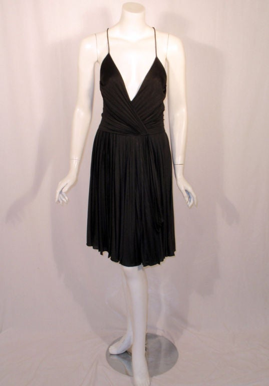 GUCCI Pleated Silk Jersey Cocktail Dress w/ Spaghetti Straps 2
