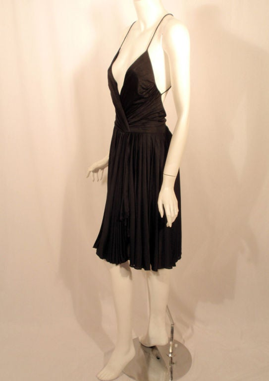 GUCCI Pleated Silk Jersey Cocktail Dress w/ Spaghetti Straps 4
