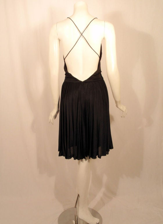 GUCCI Pleated Silk Jersey Cocktail Dress w/ Spaghetti Straps 5