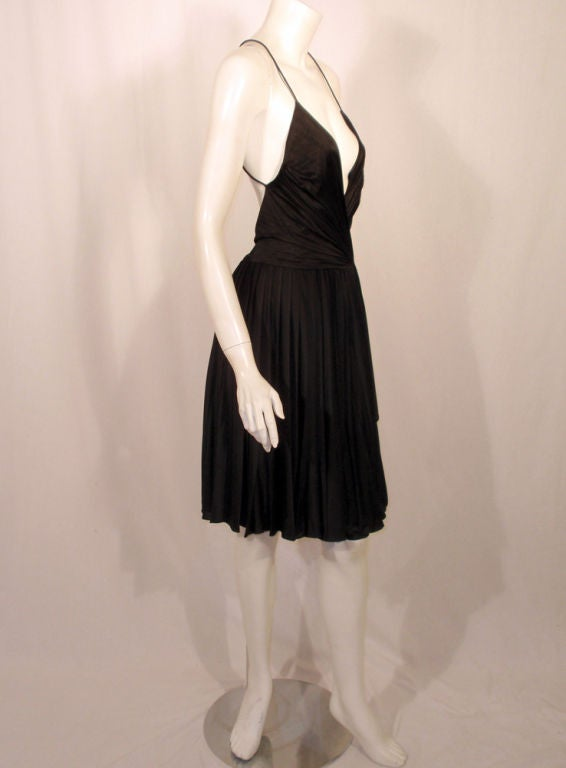 GUCCI Pleated Silk Jersey Cocktail Dress w/ Spaghetti Straps 6