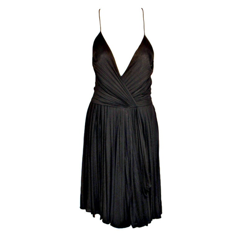 GUCCI Pleated Silk Jersey Cocktail Dress w/ Spaghetti Straps 1