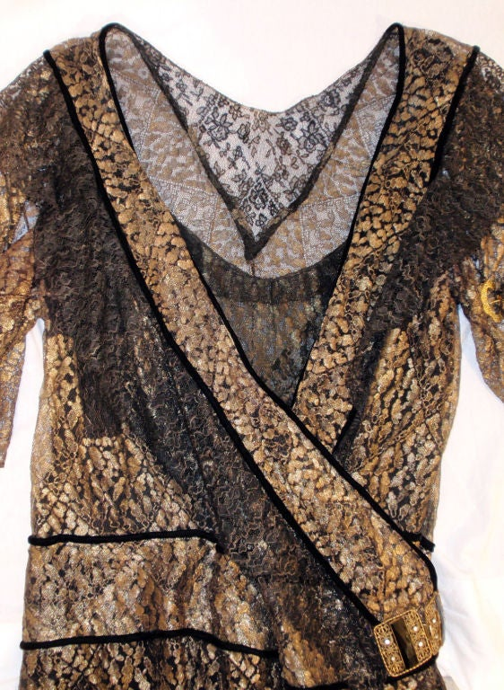 Vintage Black and Gold Lace Evening Gown w/ Gold Buckles, 1920s 10