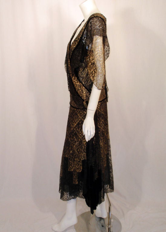 Vintage Black and Gold Lace Evening Gown w/ Gold Buckles, 1920s 2