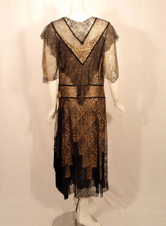 Vintage Black and Gold Lace Evening Gown w/ Gold Buckles, 1920s 3