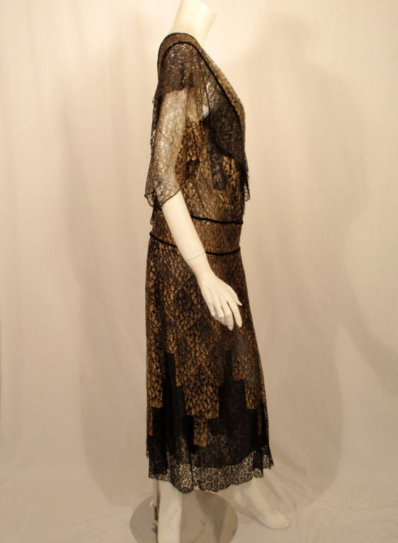 Vintage Black and Gold Lace Evening Gown w/ Gold Buckles, 1920s 4