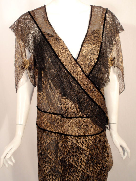 Vintage Black and Gold Lace Evening Gown w/ Gold Buckles, 1920s 5