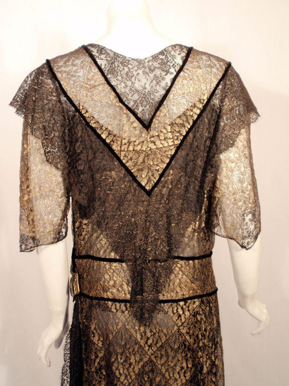 Vintage Black and Gold Lace Evening Gown w/ Gold Buckles, 1920s 7