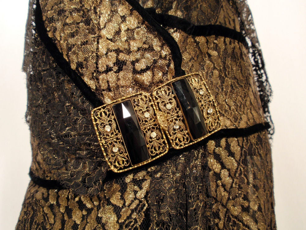 Vintage Black and Gold Lace Evening Gown w/ Gold Buckles, 1920s 8