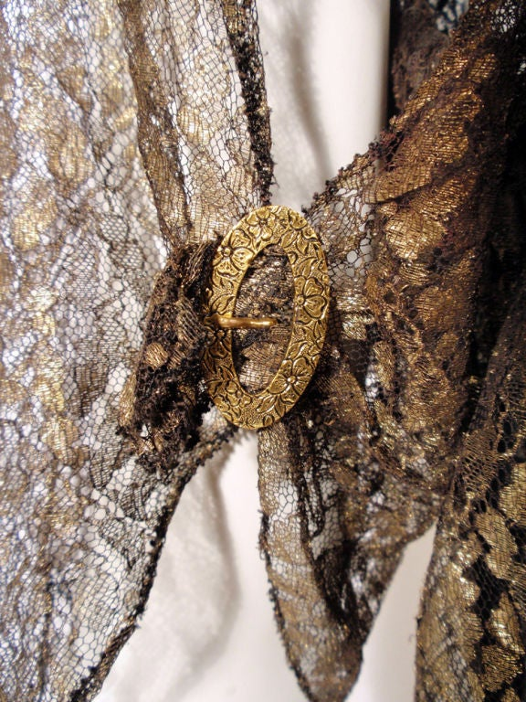 Vintage Black and Gold Lace Evening Gown w/ Gold Buckles, 1920s 9