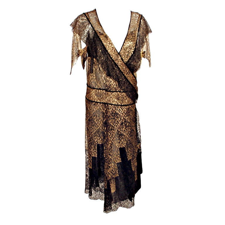 Vintage Black and Gold Lace Evening Gown w/ Gold Buckles, 1920s 1