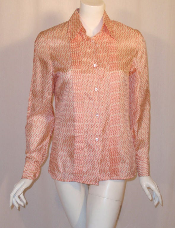 Hermes Sport Pink and Cream Silk Blouse with pleat detail, Circa 1980's 2