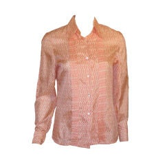 Hermes Sport Pink and Cream Silk Blouse with pleat detail, Circa 1980's