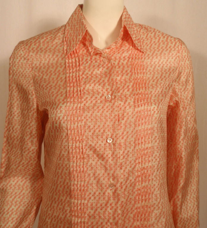 Hermes Sport Pink and Cream Silk Blouse with pleat detail, Circa 1980's 4