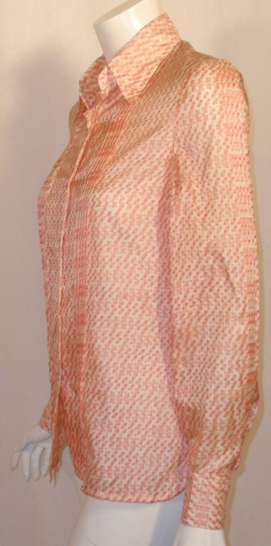 Hermes Sport Pink and Cream Silk Blouse with pleat detail, Circa 1980's 5