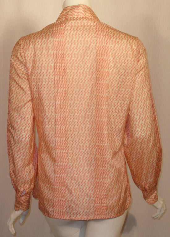 Hermes Sport Pink and Cream Silk Blouse with pleat detail, Circa 1980's 7