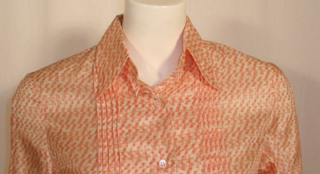 Hermes Sport Pink and Cream Silk Blouse with pleat detail, Circa 1980's 8