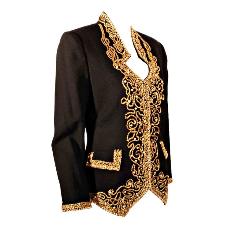 Adolfo Black Jacket w/Gold Trim