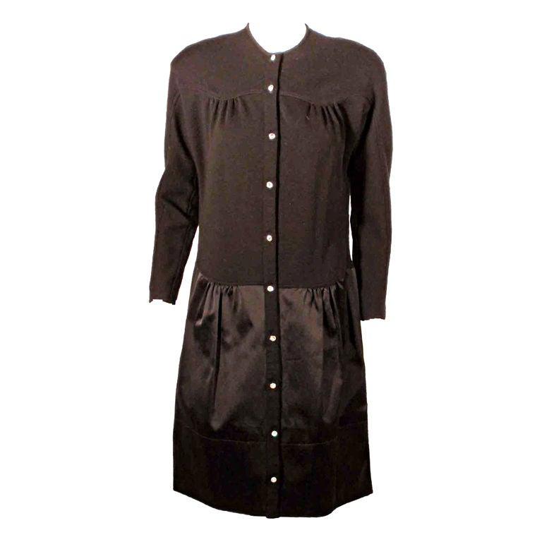 Geoffrey Beene Black Wool Knit and Satin skirt Cocktail Dress